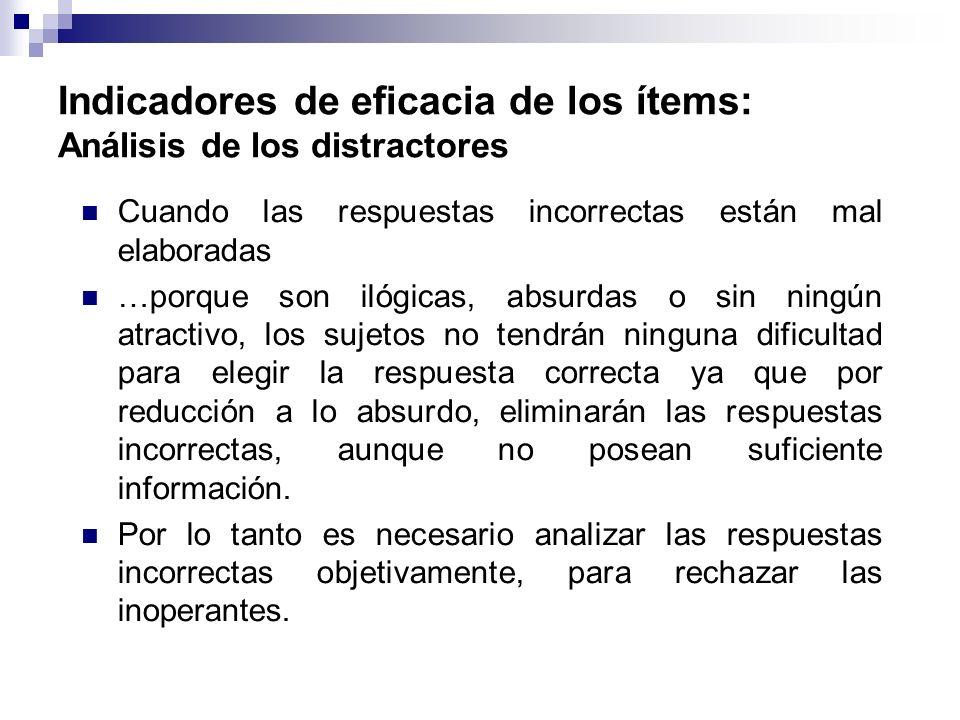 Indicadores de eficacia de los ítems: Análisis de los distractores