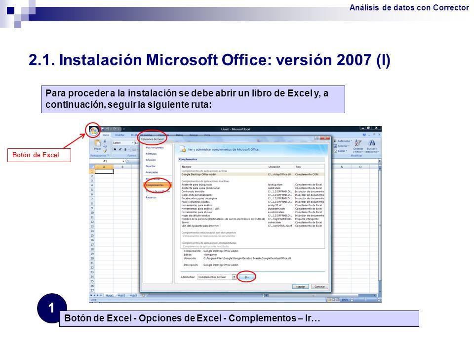 2.1. Instalación Microsoft Office: versión 2007 (I)