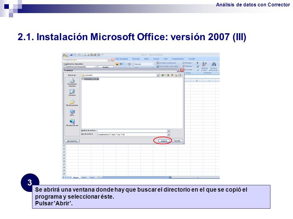 2.1. Instalación Microsoft Office: versión 2007 (III)