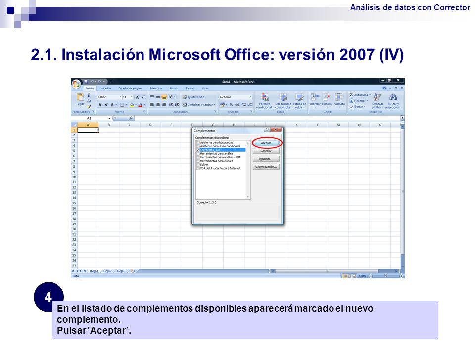 2.1. Instalación Microsoft Office: versión 2007 (IV)