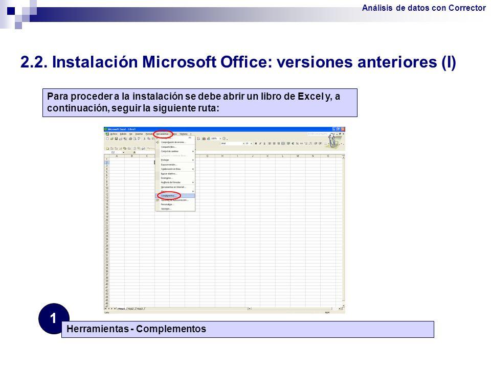2.2. Instalación Microsoft Office: versiones anteriores (I)