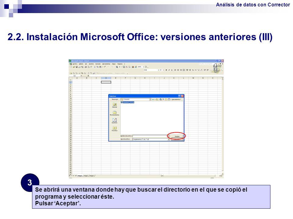 2.2. Instalación Microsoft Office: versiones anteriores (III)