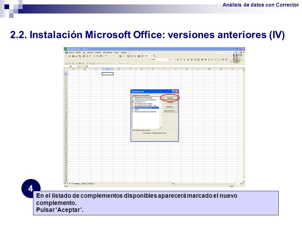 2.2. Instalación Microsoft Office: versiones anteriores (IV)