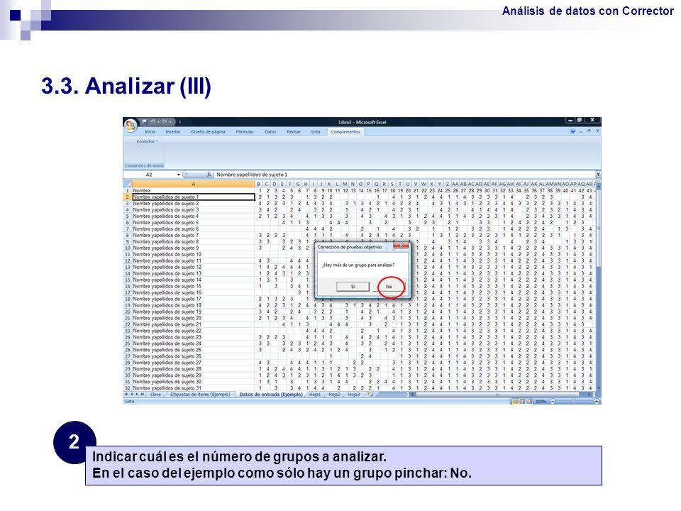 3.3. Analizar (III) 2 Indicar cuál es el número de grupos a analizar.