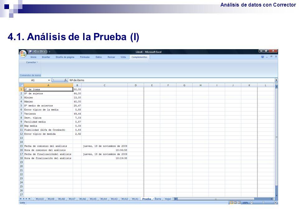 4.1. Análisis de la Prueba (I)