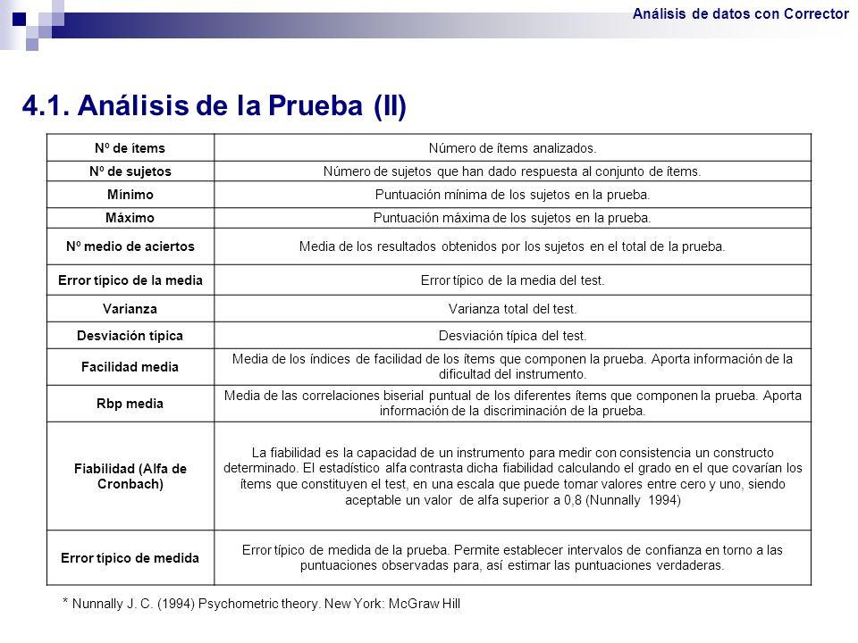 4.1. Análisis de la Prueba (II)