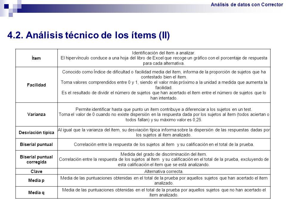 4.2. Análisis técnico de los ítems (II)