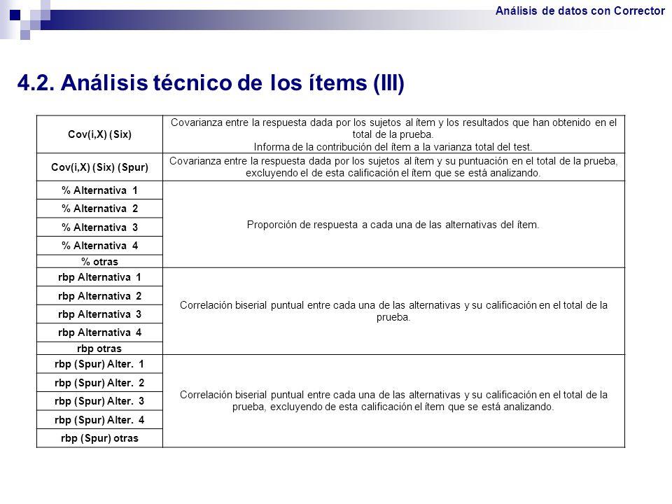 4.2. Análisis técnico de los ítems (III)