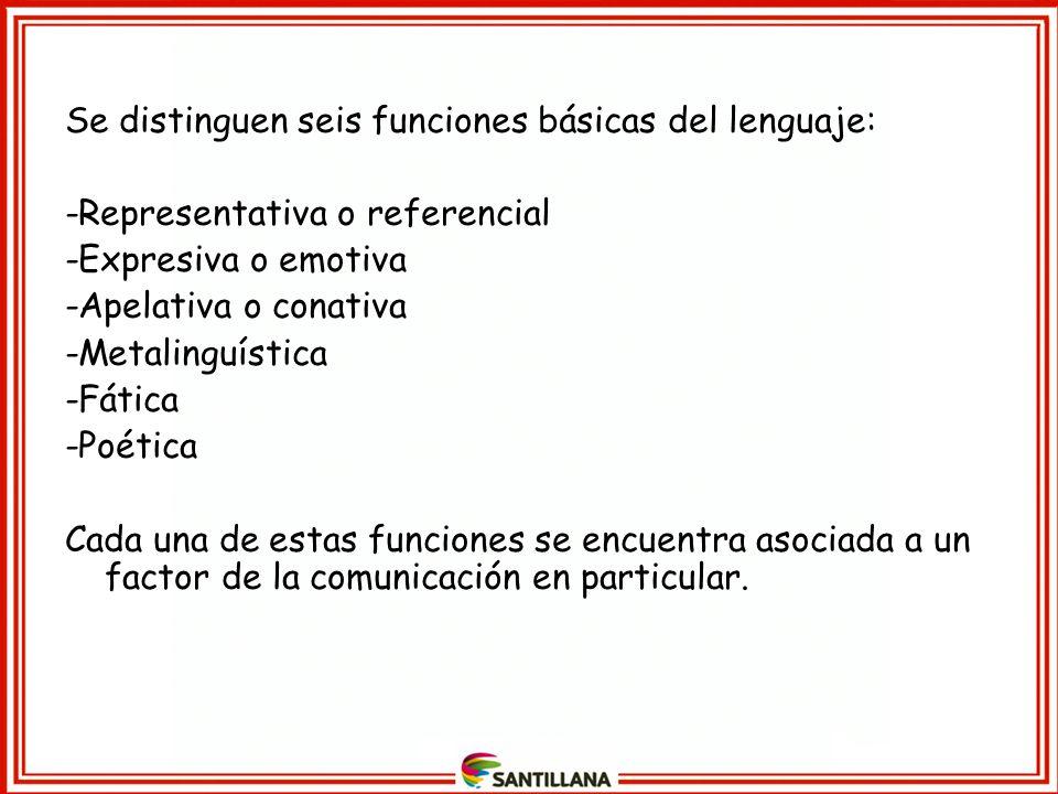 Se distinguen seis funciones básicas del lenguaje: