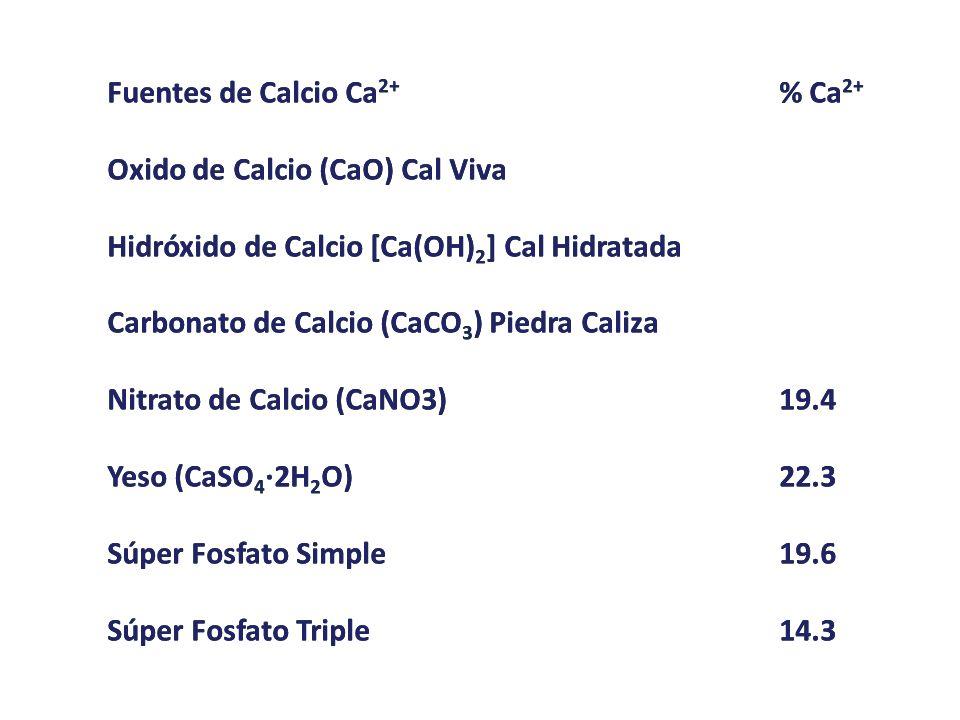 Fuentes de Calcio Ca2+ % Ca2+