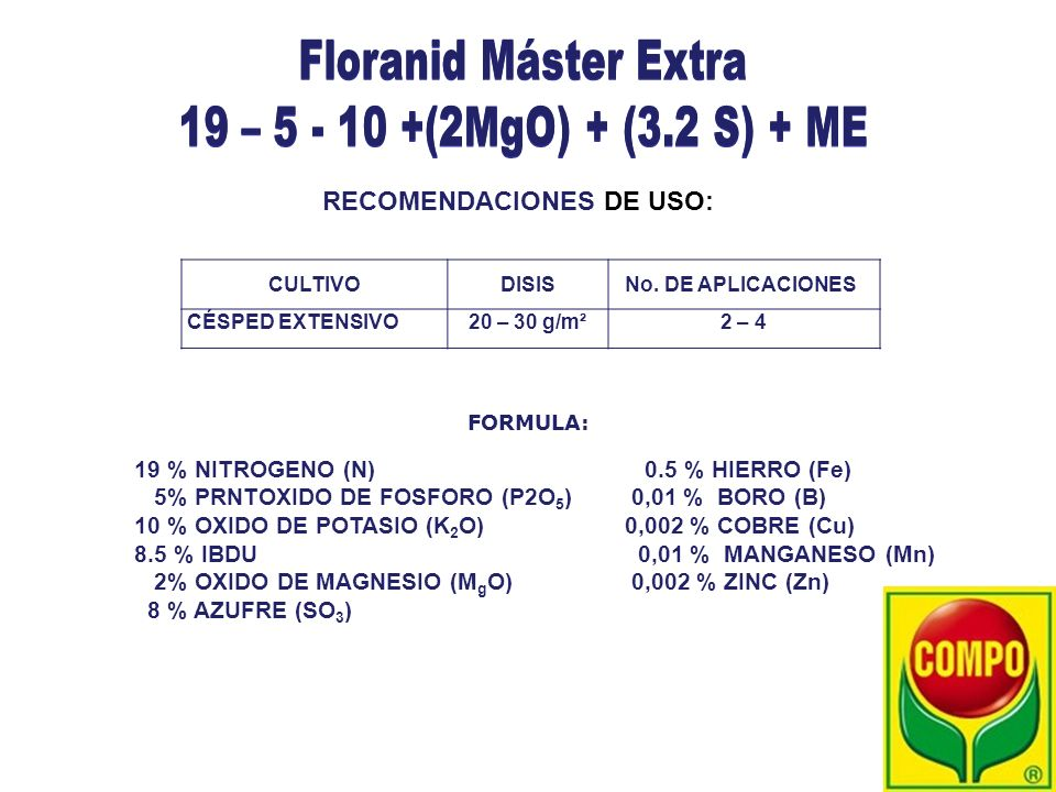 Floranid Máster Extra 19 – 5 - 10 +(2MgO) + (3.2 S) + ME