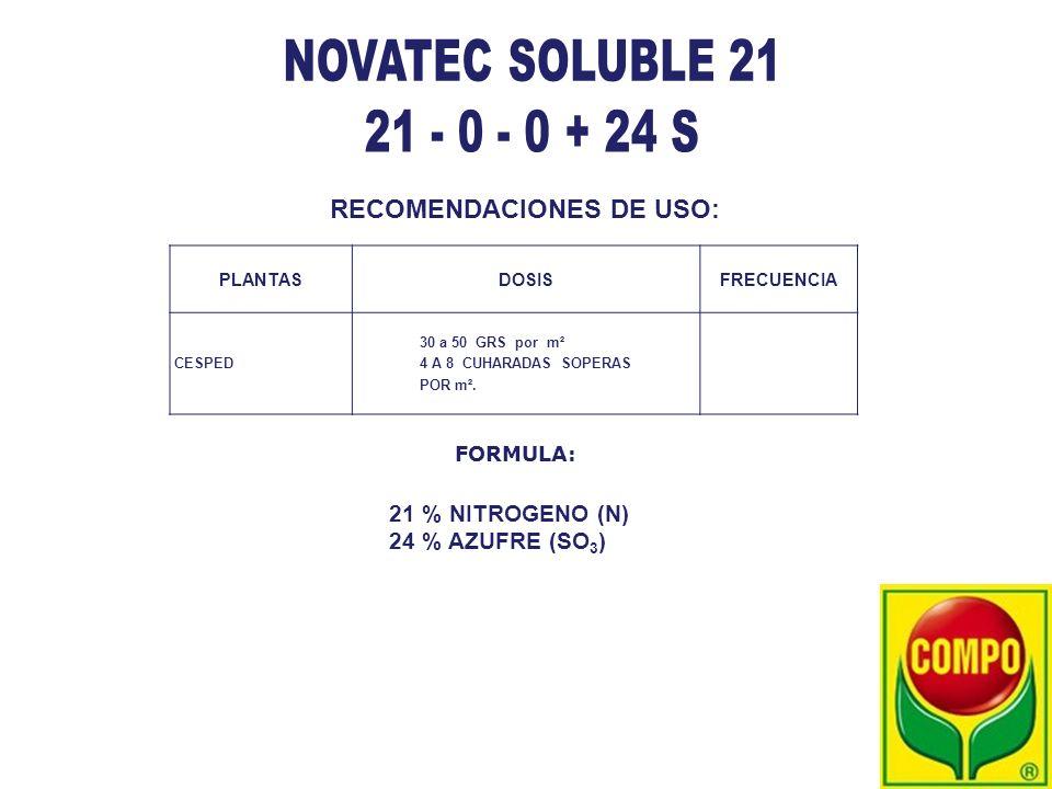 NOVATEC SOLUBLE 21 21 - 0 - 0 + 24 S RECOMENDACIONES DE USO: