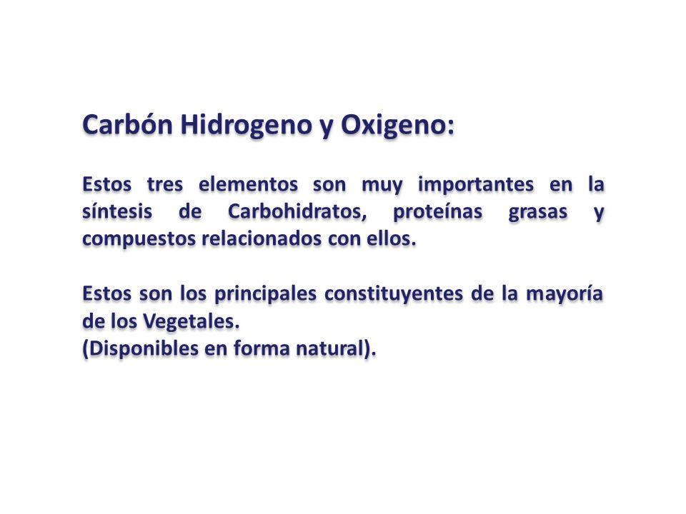 Carbón Hidrogeno y Oxigeno: