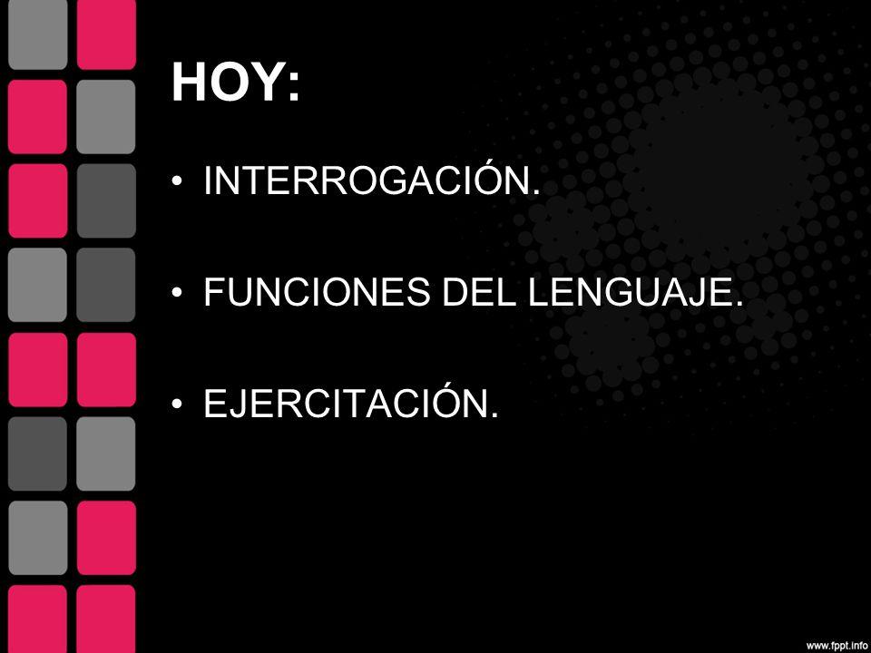 HOY: INTERROGACIÓN. FUNCIONES DEL LENGUAJE. EJERCITACIÓN.