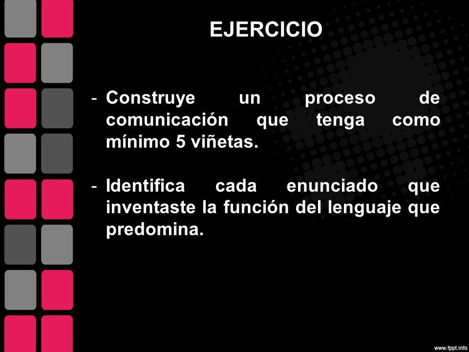 EJERCICIO Construye un proceso de comunicación que tenga como mínimo 5 viñetas.