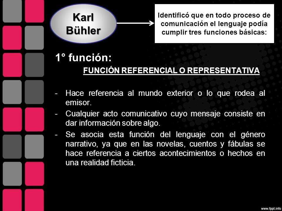 Karl Bühler 1° función: FUNCIÓN REFERENCIAL O REPRESENTATIVA