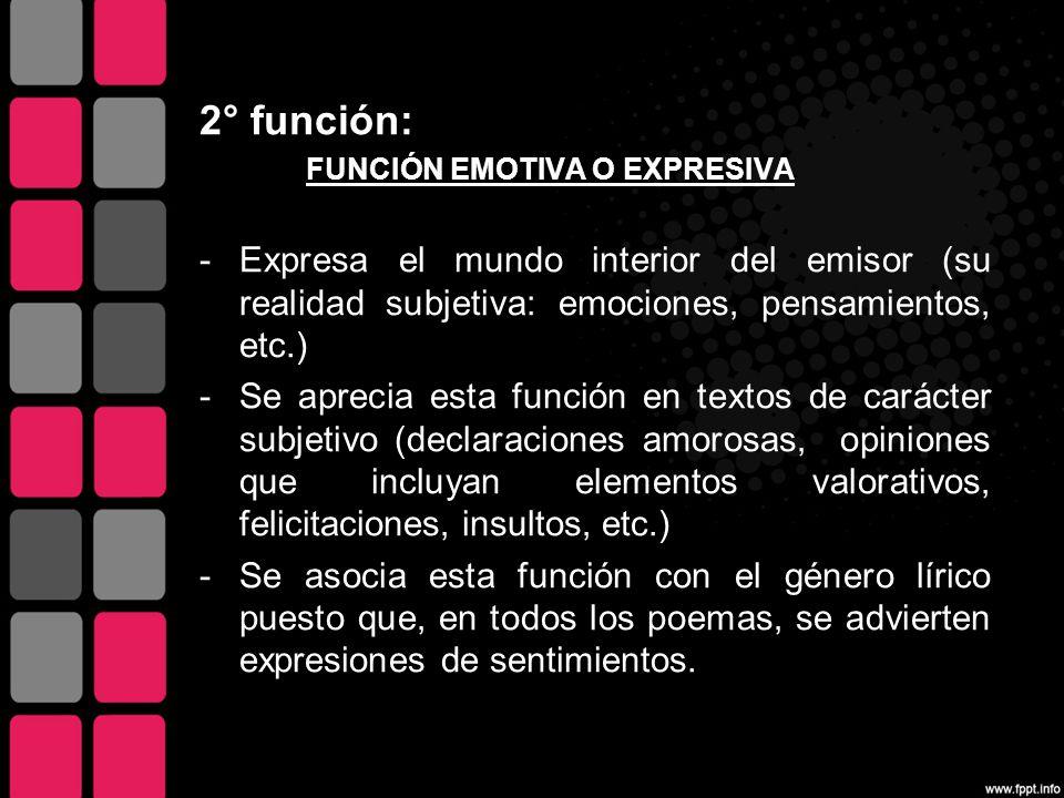 2° función: FUNCIÓN EMOTIVA O EXPRESIVA. Expresa el mundo interior del emisor (su realidad subjetiva: emociones, pensamientos, etc.)