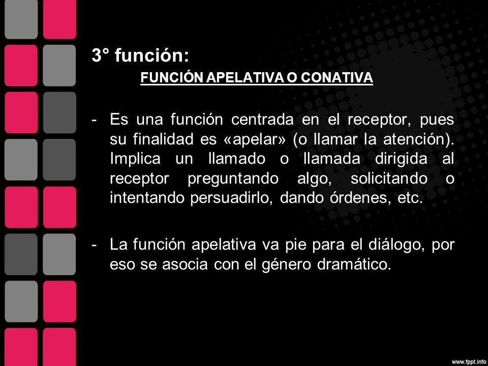 3° función: FUNCIÓN APELATIVA O CONATIVA.