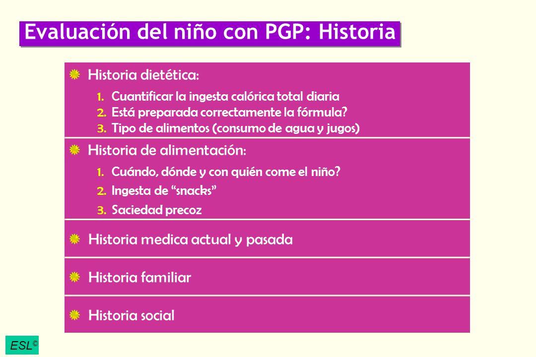 Evaluación del niño con PGP: Historia