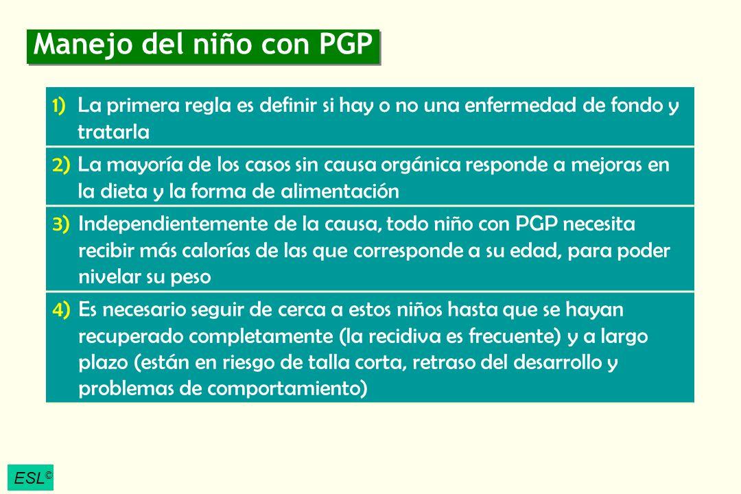 Manejo del niño con PGP La primera regla es definir si hay o no una enfermedad de fondo y tratarla.