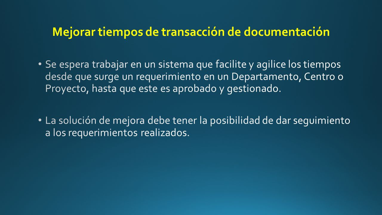 Mejorar tiempos de transacción de documentación