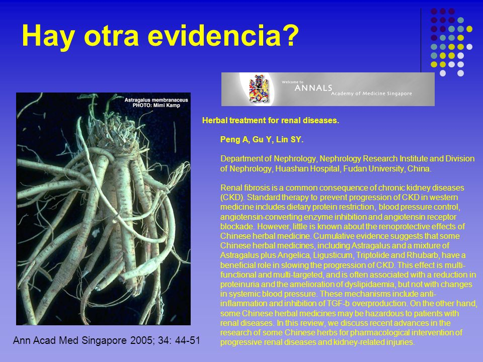 Hay otra evidencia Ann Acad Med Singapore 2005; 34: 44-51