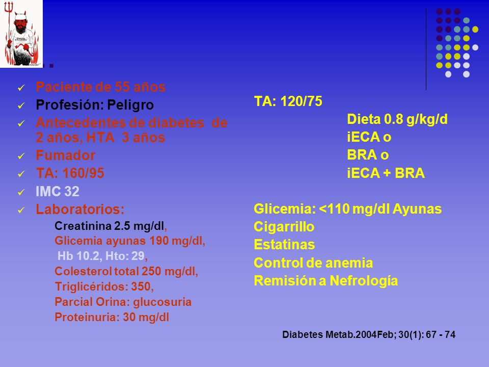 … Paciente de 55 años Profesión: Peligro TA: 120/75