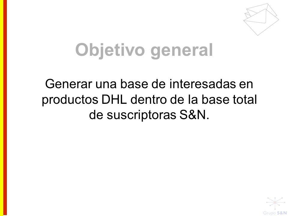 Objetivo generalGenerar una base de interesadas en productos DHL dentro de la base total de suscriptoras S&N.