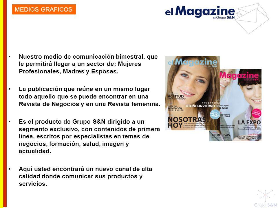 MEDIOS GRAFICOS Nuestro medio de comunicación bimestral, que le permitirá llegar a un sector de: Mujeres Profesionales, Madres y Esposas.