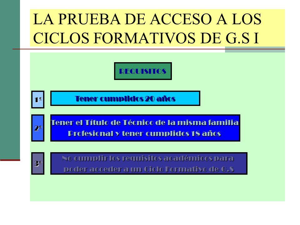 LA PRUEBA DE ACCESO A LOS CICLOS FORMATIVOS DE G.S I