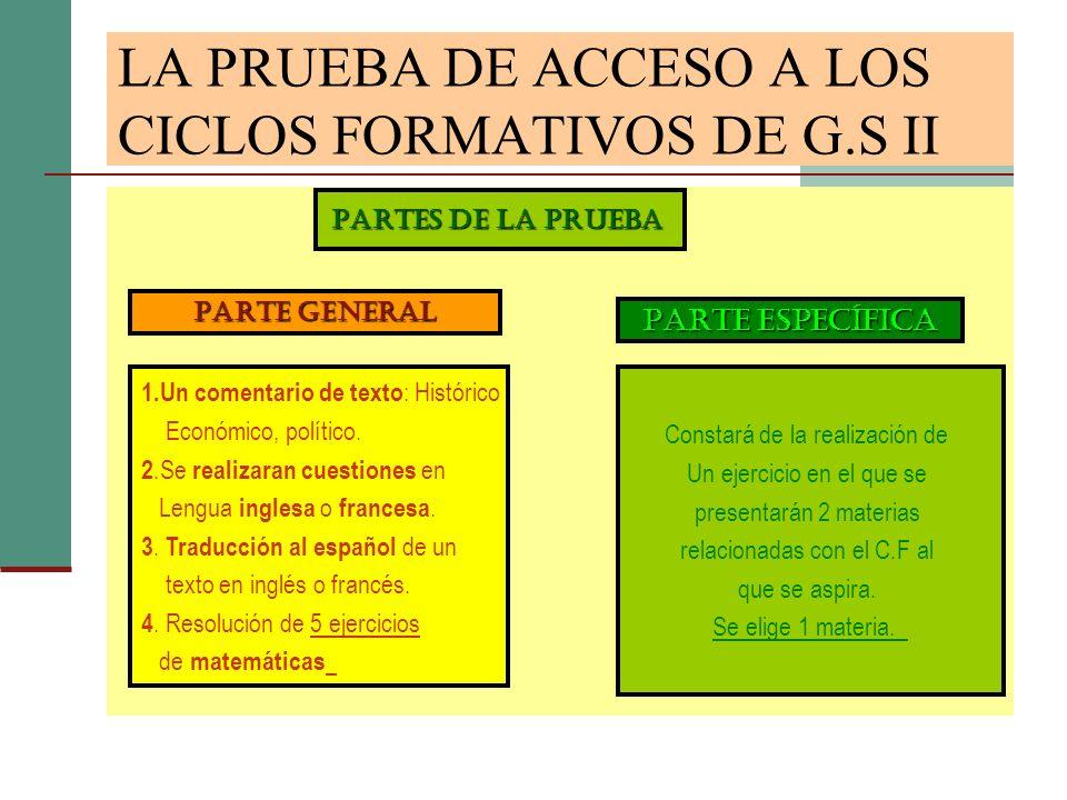 LA PRUEBA DE ACCESO A LOS CICLOS FORMATIVOS DE G.S II