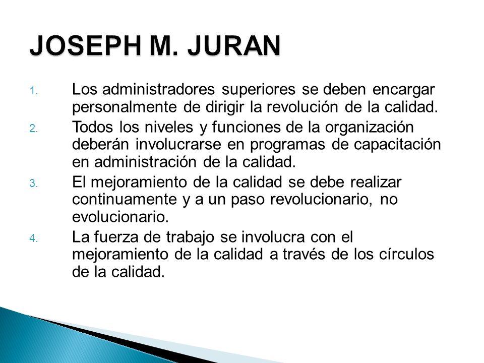JOSEPH M. JURAN Los administradores superiores se deben encargar personalmente de dirigir la revolución de la calidad.