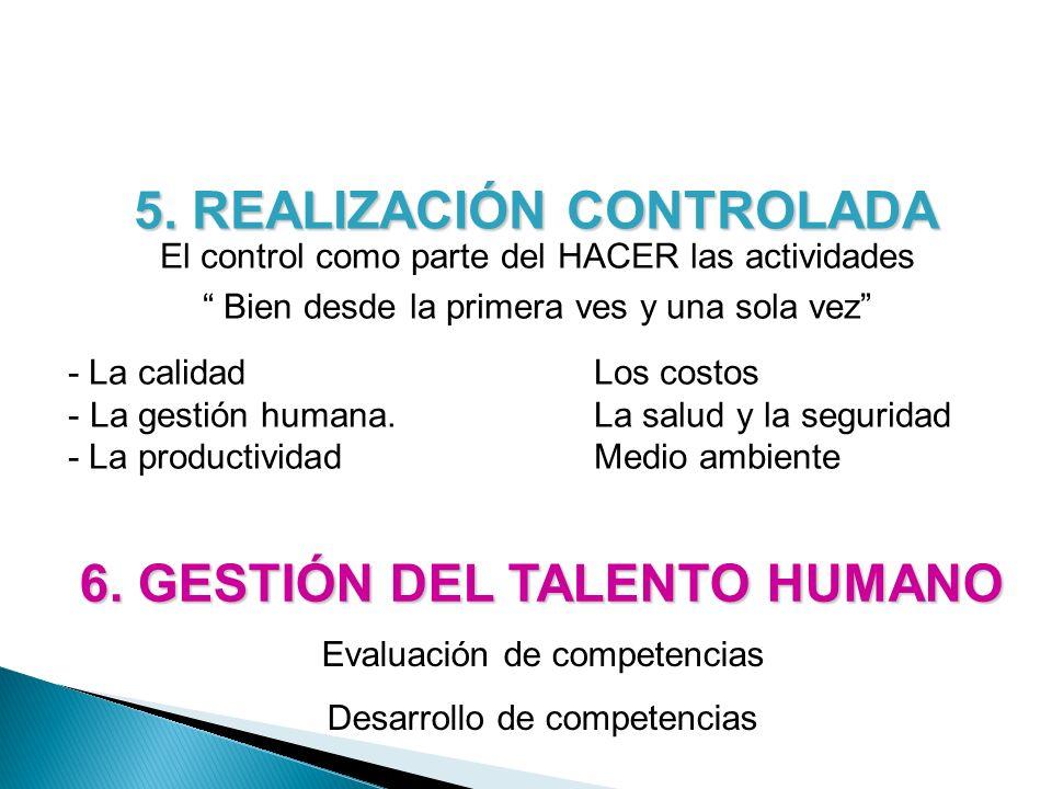 5. REALIZACIÓN CONTROLADA 6. GESTIÓN DEL TALENTO HUMANO