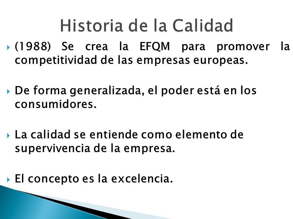 Historia de la Calidad (1988) Se crea la EFQM para promover la competitividad de las empresas europeas.