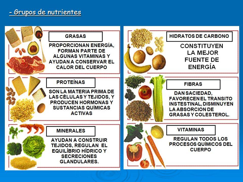 - Grupos de nutrientes