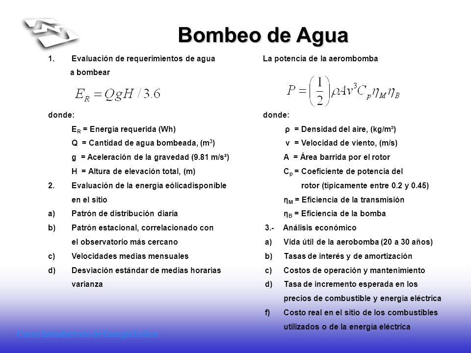 Bombeo de Agua Evaluación de requerimientos de agua La potencia de la aerombomba. a bombear.