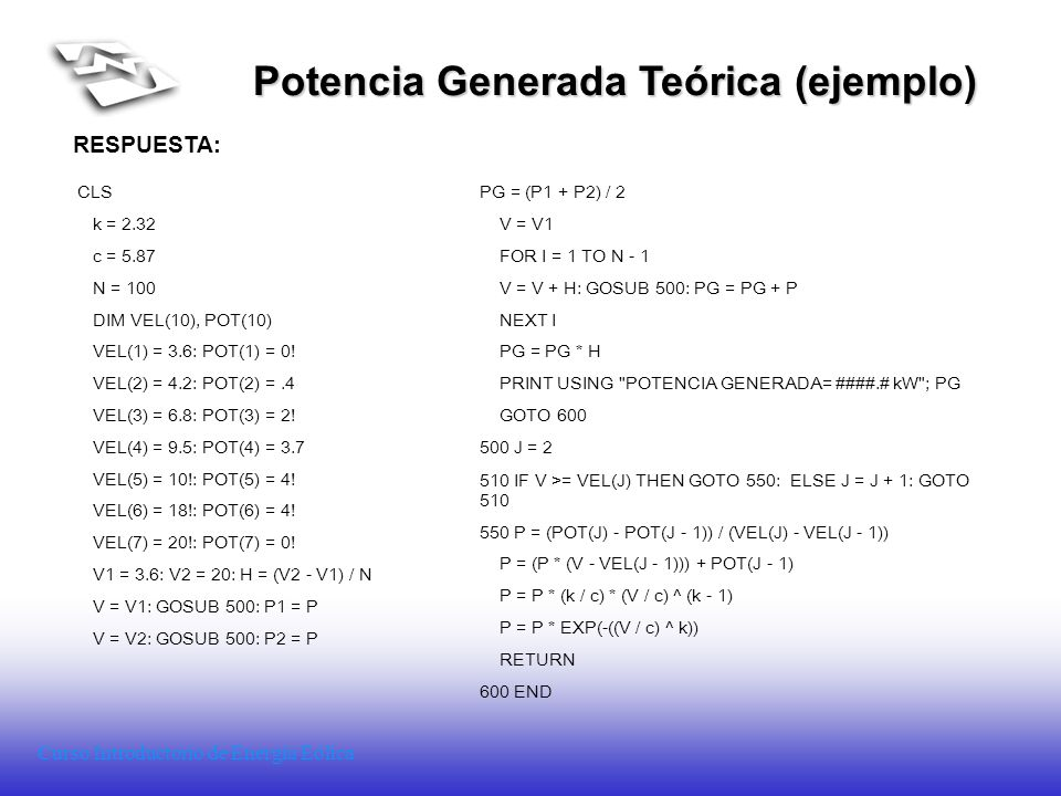 Potencia Generada Teórica (ejemplo)