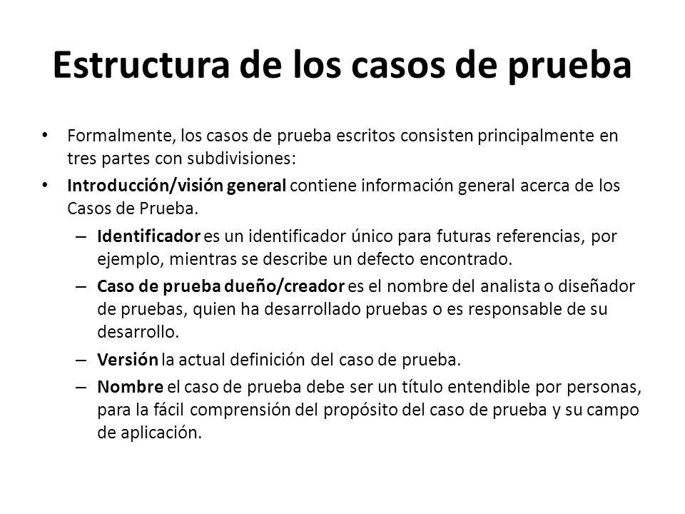 Estructura de los casos de prueba