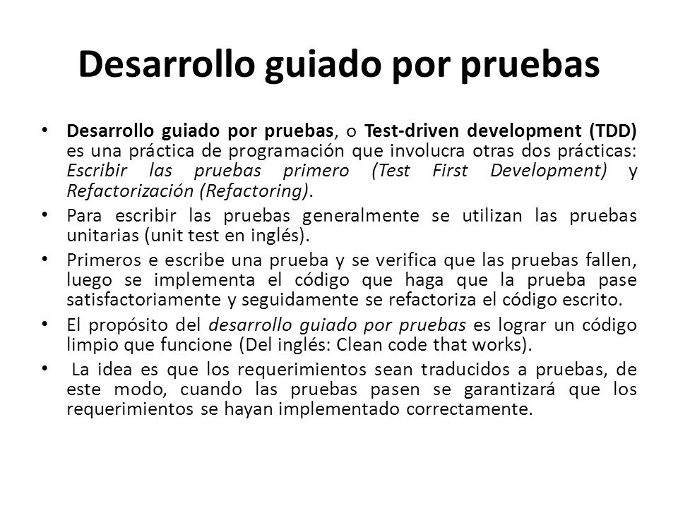 Desarrollo guiado por pruebas