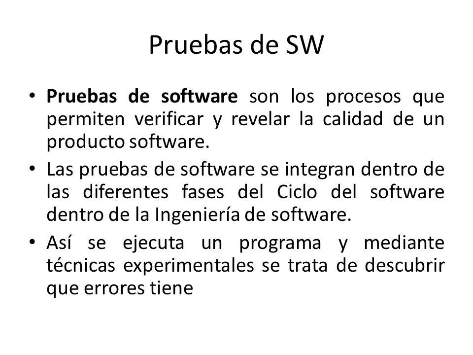 Pruebas de SW Pruebas de software son los procesos que permiten verificar y revelar la calidad de un producto software.
