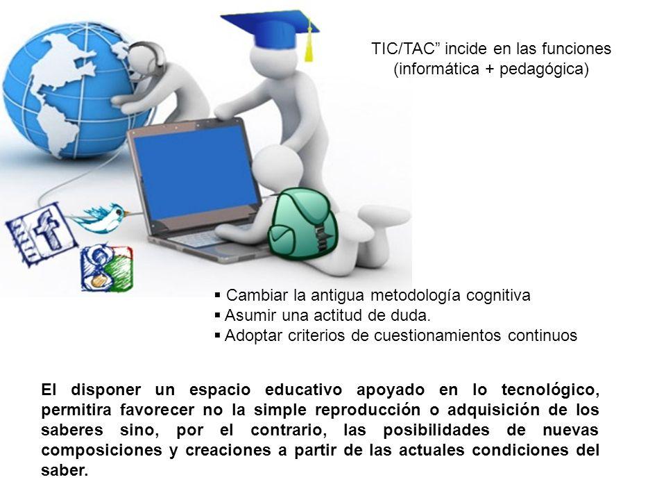 TIC/TAC incide en las funciones (informática + pedagógica)