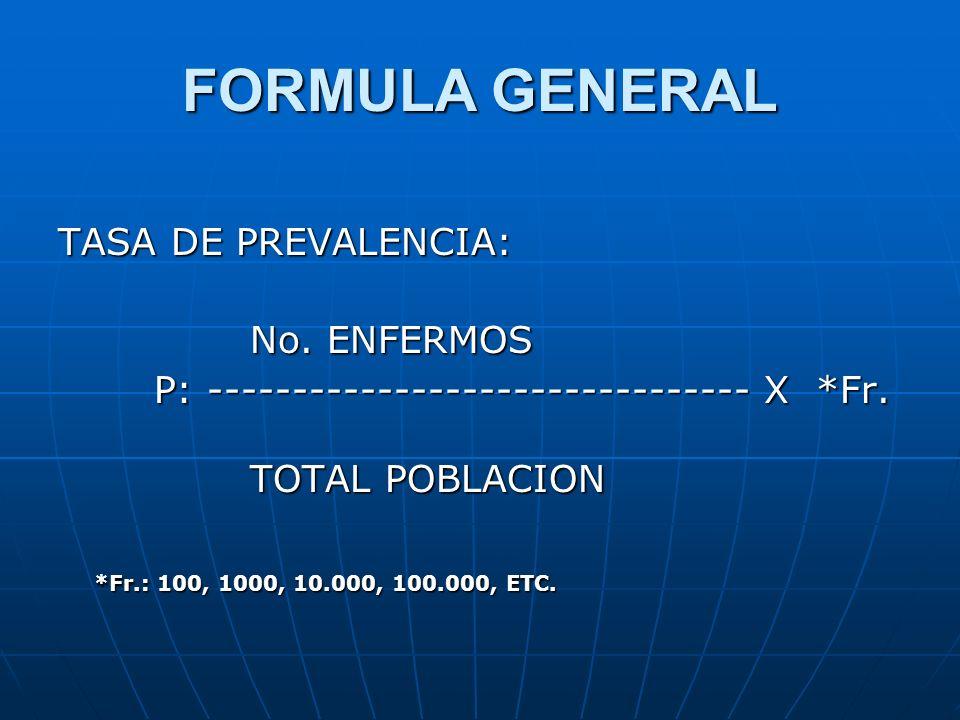 FORMULA GENERAL TASA DE PREVALENCIA: No. ENFERMOS
