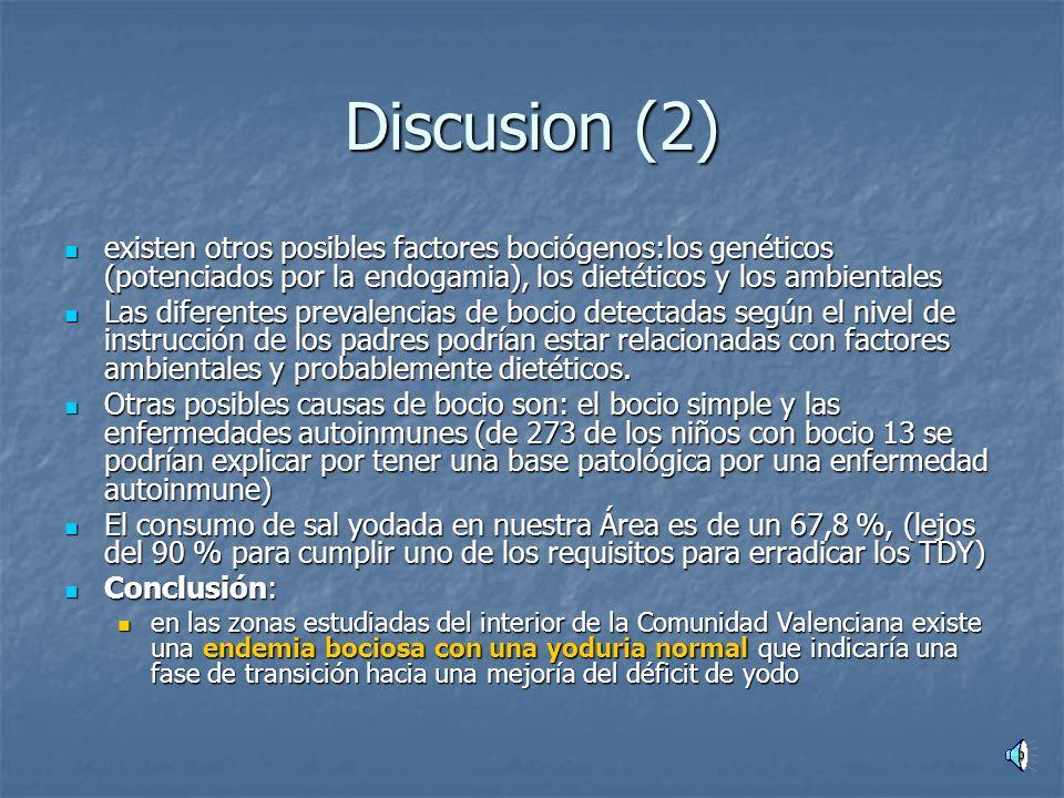 Discusion (2) existen otros posibles factores bociógenos:los genéticos (potenciados por la endogamia), los dietéticos y los ambientales.