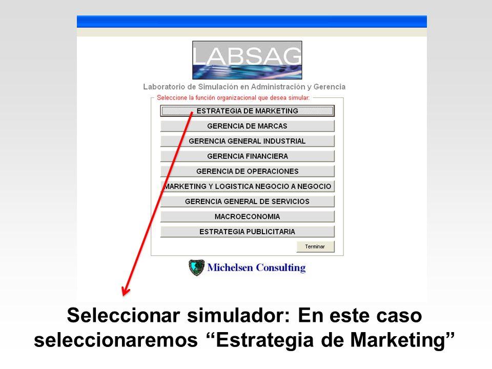 Seleccionar simulador: En este caso seleccionaremos Estrategia de Marketing