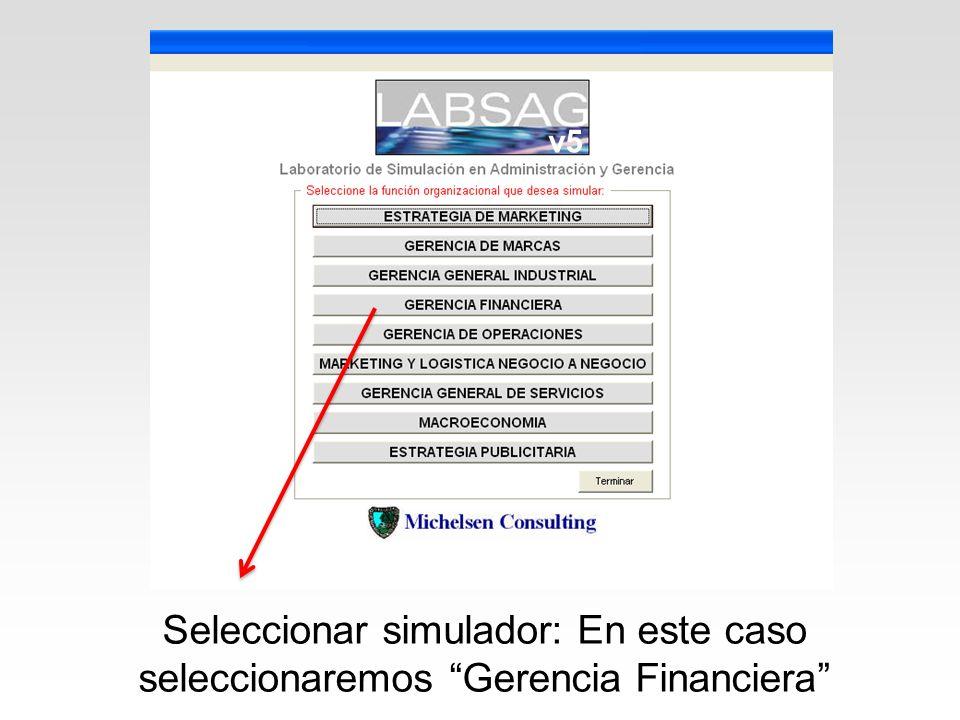 v5 Seleccionar simulador: En este caso seleccionaremos Gerencia Financiera