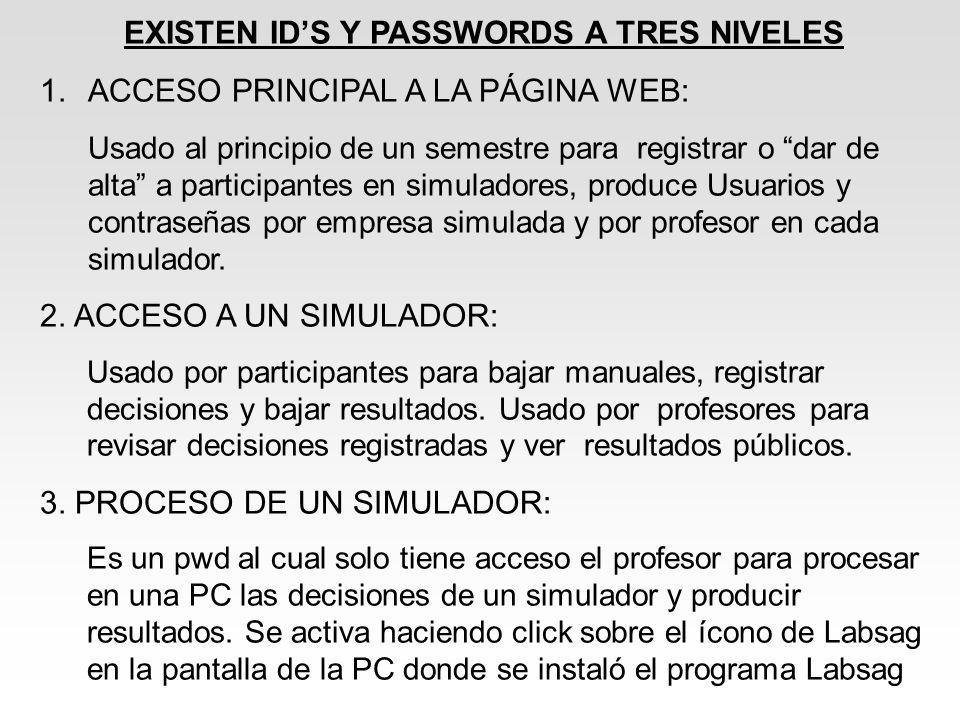 EXISTEN ID'S Y PASSWORDS A TRES NIVELES