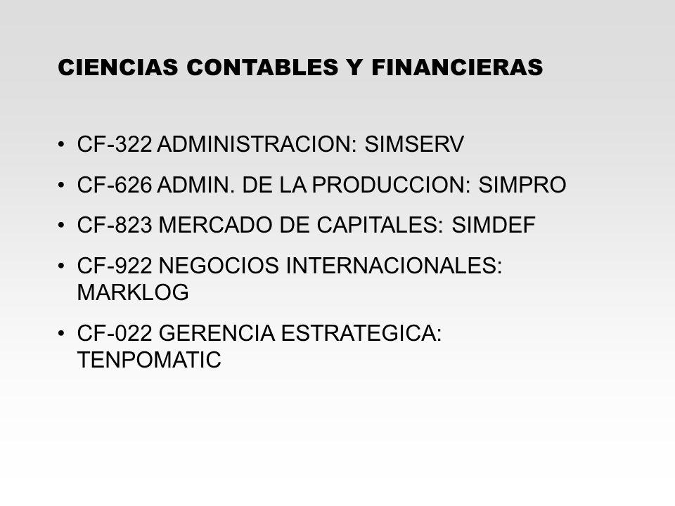 CIENCIAS CONTABLES Y FINANCIERAS