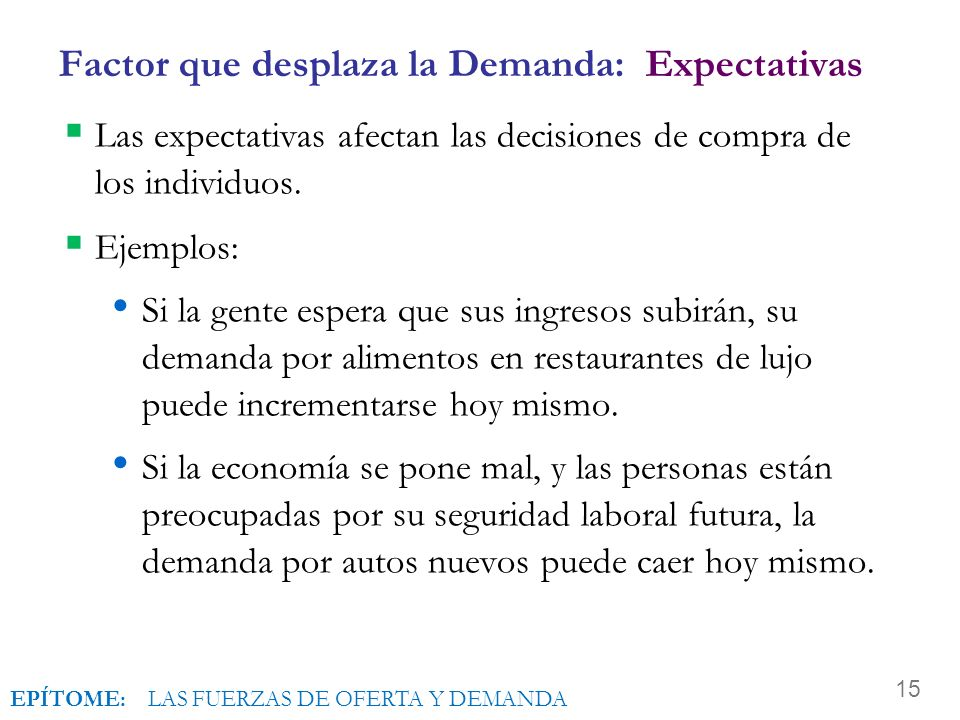 Factor que desplaza la Demanda: Expectativas