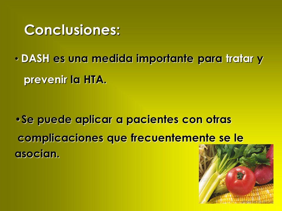 Conclusiones: DASH es una medida importante para tratar y