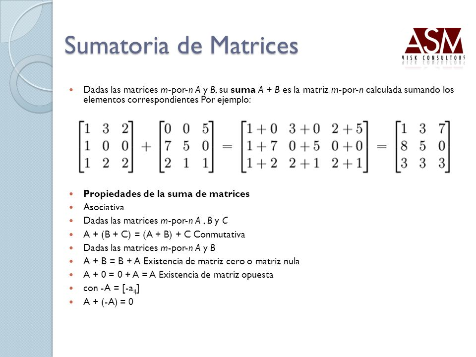 Sumatoria de Matrices